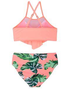 AmzBarley Womens Swimming Costumes 2-Piece Swimsuit Woman Tankini Bikinis Swimwear Bathing Suit Retro Flounce Bra Tops Floral High Waist Bottoms