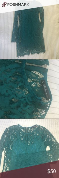 "For Love & Lemons Maui Waui Dress Real/turquoise lace dress with matching slip by For Love & Lemons. 32"" long (at rear zipper), front neckline to hem is 27.5"", waist is about 13.75"". Very little stretch in the outer lace shell, fits true to size XS. For Love And Lemons Dresses"