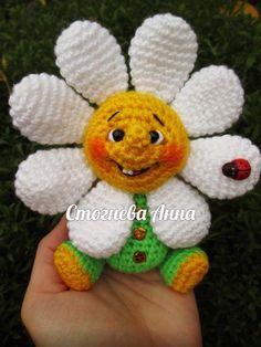 Daisy with face - игрушки - Crochet Doll Pattern, Crochet Toys Patterns, Amigurumi Patterns, Amigurumi Doll, Crochet Dolls, Crochet Sunflower, Crochet Flowers, Cute Crochet, Crochet Crafts