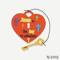 """Jesus Is The Key"" Craft. This could be done with card stock or craft foam-just make a template for the heart lock & key. Marker it the words in black and use foam stickers for the rest (foam alphabet letters to spell out key)."