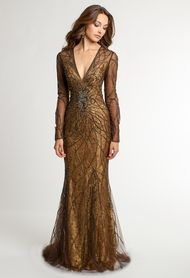 Camille La Vie Metallic Lace Long Sleeve Dress