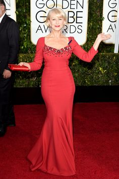 Golden Globes 2015 - NYTimes.com. Of course the Grande Dame Helen Mirren always looks spectacular. The color of this Dolce & Gabbana gown is epecially beautiful.
