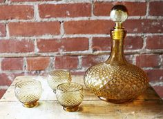 Vintage Amber Glass Liquor Decanter with Matching Glasses / Retro Barware 1960s 1970s Mad Men Style