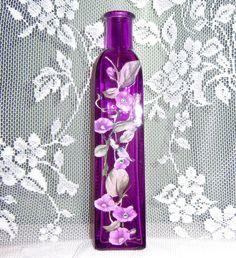 Purple glass bud vase - purple floral with green swarovski crystals Bottle Vase, Bottles And Jars, Shades Of Purple, Deep Purple, 50 Shades, Purple Vase, All Things Purple, Purple Stuff, Bud Vases