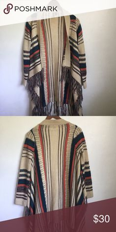 Draped Open Front Aztec Cardigan Beautiful brand new long sleeve cardigan. Amazing pattern. Loose fitting 😌 Great piece for fall. Full Tilt Jackets & Coats