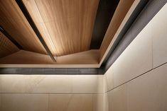 George Place - New Age Veneers : New Age Veneers Gypsum Ceiling Design, Interior Ceiling Design, Lobby Interior, False Ceiling Design, Ceiling Decor, Modern Interior Design, Ceiling Lights, Timber Ceiling, Wooden Ceilings