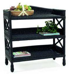 Marthau0027s Vineyard 3 Tiered Wicker Shelf