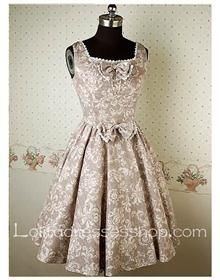 Grey Square Neckline floral print Sleeveless retro Lolita Dresses With Bow And Lace-up Back Style