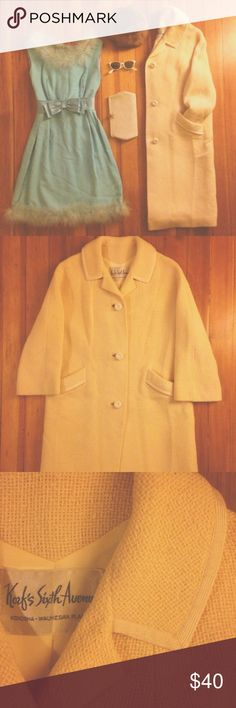"60s Tweed Coat Get into this Cream Wool Tweed Coat for winter! 1950s 3/4 Sleeve with three button closure & two front pockets.  Size: None given. Estimated M Length: 40"" Sleeve: 21"" Chest: 45"" Label: Korf's Sixth Avenue Vintage Jackets & Coats Trench Coats"