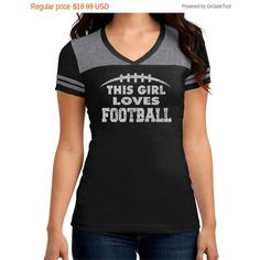 Disc Shirts Football Love Junior Varsity v-Neck T-Shirt This Girl... ($10) ❤ liked on Polyvore featuring tops, t-shirts, red, women's clothing, stripe t shirt, red striped t shirt, v-neck shirt, sports t shirts and red stripe shirt