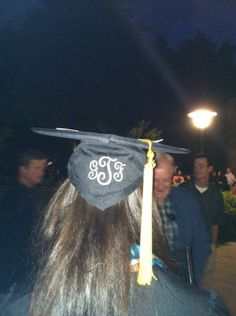 In the south we monogram ... everything we can.  Here is a college graduation hat with an elegant, personal and southern monogram!