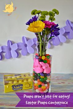 #DIY Peeps Centerpiece for #Easter.  Easy Easter Decorations.
