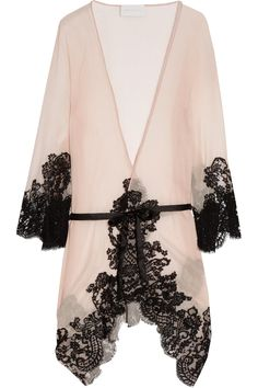 Lingerie-silk-crepe and lace robe