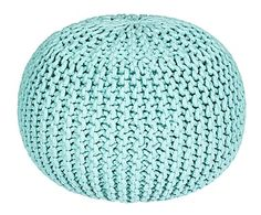 Puf de algodón tejido a mano, turquesa - Ø55 cm