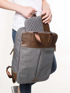 e6507959dc7b6 OLLI O22    Rucksack    backpack    unisex    Kunstleder    Materialmix     forest    brown    chili    denim    stone    noir