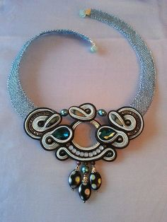 "Necklace made from crochet wire with Soutache element ""Blue night"""