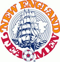 New England Tea Men Primary Logo (1978) - Clipper Ship in the middle of script
