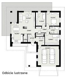 Projekt domu Ergo - Novio.pl House Plans Mansion, Duplex House Plans, Bungalow House Design, Small House Design, Building Design, Building A House, Planer, Sweet Home, Floor Plans