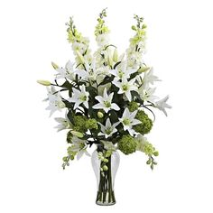 nearly natural Artificial Lily, Delphinium and Hydrangea Arrangement, White