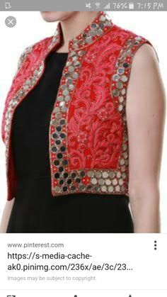Coral mirror work Jacket,J by Jannat Jacket Style Kurti, Jacket Dress, Indian Dresses, Indian Outfits, Mirror Jacket, Indian Fashion, Womens Fashion, Work Jackets, Indian Designer Wear