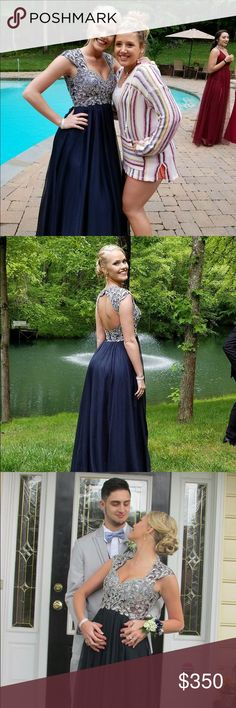 Prom Dress For Sale!! Gorgeous, Embellished Navy Blue Prom Dress!! Has Never Been Altered!! lily's prom Dresses Prom