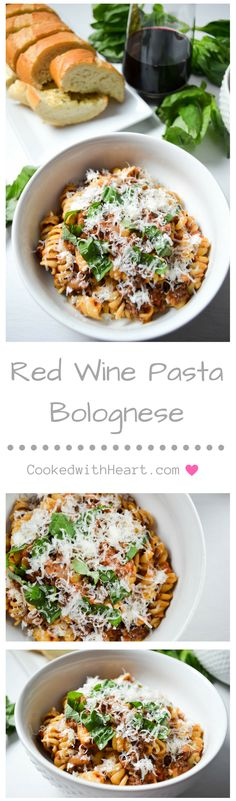 Red Wine Pasta Bolognese seasoned with heaps of oregano, and topped with fresh basil and parmesan cheese!