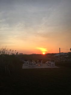 Relaxing outside by the fire pit. Nothing like a sunset at the Henderson Park Inn.