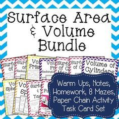 With this bundle you get my 17 Surface Area & Volume activities.  You get 8 mazes, 1 Volume Paper Chain Activity, 1 Set of Task Cards, and 7 Sets of Warmups, Notes, & HomeworkIndividually these products would cost you $28 save $14 by buying the bundle and be prepared for an entire unit of engaging activities!.
