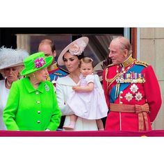 Catherine, Duchess of Cambridge holding her daughter Princess Charlotte and Prince Philip, Duke of Edinburgh watch a fly-past of aircrafts by the Royal Air Force, in London on June 11, 2016. . #duchessofcambridge #katemiddleton #princesscharlotte #troopingthecolour #princephilip #queenelizabethii