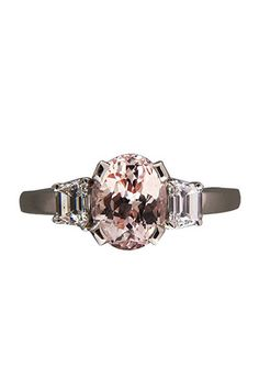 peter suchy jewelers natural peach and orange sapphire and diamond platinum ring, $9,445.
