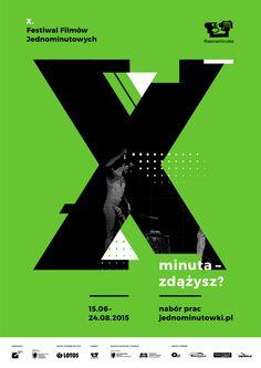 X. Festiwal Filmów Jednominutowych. Plakat informujący o naborze. Autorzy: Katarzyna Rzepka i Mikołaj Sałek. www.jednominutowki.pl.