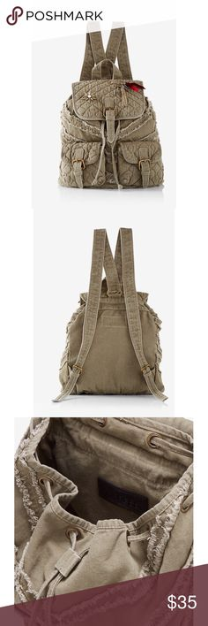 ▪️ Express Quilted Embellished Drawstring Backpack ▪️Brand New with Tag ▪️Army Green in Color ▪️Adorable! Perfect Everyday Bag! Express Bags Backpacks