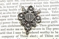 Mary Rosary Center - Sterling Silver  - Lourdes - Rosary Center - Vintage Rosary Center Replica (R-1265)