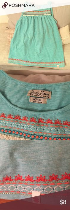 Lucky Brand Embroidered Tank Top The orange, white and turquoise embroidered embellishment on this turquoise tank reminds me of a Native-American design. Kids size large. Cotton/poly blend. Lucky Brand Tops