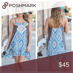 "Infinity Raine Tribal Print Sundress 🌞 This dress is perfect for summer! 65% Cotton 35% Polyester.  The small is 18"" bust and 33"" length, the medium is 19"" bust and 34"" length, and the large is 20"" bust and 35"" length.  The straps are adjustable for the perfect fit! I only have one of each size so get your size before it sells! Infinity Raine Dresses Mini"