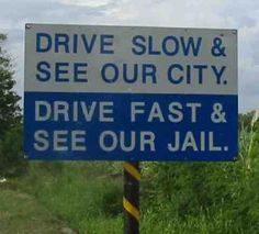 funny road and traffic sign