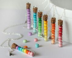 Macaroon Necklace – Rainbow Colors – Eiffel Tower Necklace – French pastry Necklace – Gradient Colors Necklace - My CMS Cute Jewelry, Diy Jewelry, Jewelry Making, Bottle Charms, Cute Charms, Miniature Crafts, Paper Stars, Polymer Clay Charms, Miniture Things