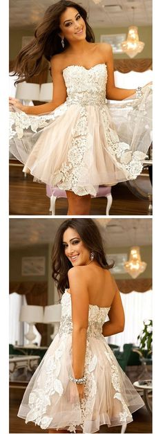 vintage lace strapless a-line/princess tulle homecoming dress crystals