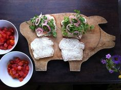A Vacation-Worthy Lunch.. On Breadzilla's honey whole wheat bread, I piled oven-fried chicken, torn into pieces, and toppings from taco night: cilantro and pickled onions. With these hearty sandwiches, I served our kids big bowls of the ideal child's salad: cherry tomato and watermelon salad with basil. It's sweet and juicy, and not at all an eat-your-vegetables side dish.