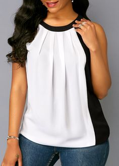 Sleeveless Pleated Neck Color Block Blouse   Rosewe.com - USD $29.12
