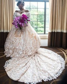 Top 10 fave unconventional black brides that slayed in their non-traditional wedding dresses and gowns . Black Wedding Gowns, Plus Size Wedding Gowns, Dream Wedding Dresses, Bridal Dresses, Dance Dresses, Looks Plus Size, Black Bride, Nontraditional Wedding, Traditional Wedding Dresses