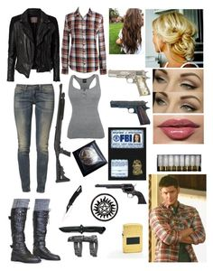 """Supernatural (Female) Dean Winchester"" by jenlizmatt ❤ liked on Polyvore featuring MuuBaa, JACHS Girlfriend, Levi's, UZI, INC International Concepts, ANGELINA and POLICE"
