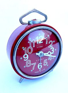 Red Vityaz clock made in USSR. Fully cleaned and serviced. Vintage Clocks, Alarm Clock, Cleaning, Clock, Projection Alarm Clock, Midcentury Clocks, Alarm Clocks, Home Cleaning