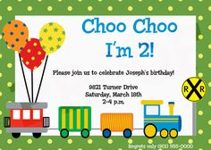 Choo+Choo+Train+Birthday+party+invitation+Train+by+kinsleyskloset,+$12.50  Adorable choo choo I'm 2 invitation