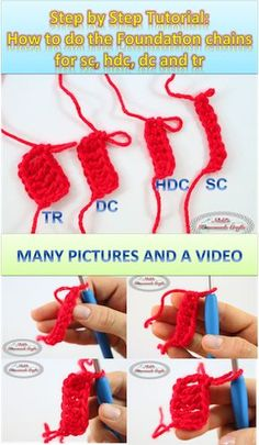 The Secret to the Perfect Chainless Foundation Chain for sc, hdc, dc and tr - Crochet Tutorial Learn how to crochet the foundation chains for single crochet, half double crochet, double crochet & treble crochet with this photo and video tutorial Crochet Stitches For Beginners, Crochet Stitches Patterns, Crochet Videos, Crochet Basics, Crochet Designs, Learn To Crochet, Diy Crochet, Crochet Crafts, Crochet Mandala