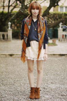 rust navajo print scarf, navy sikl shirt, white lace skirt, brown booties