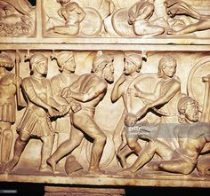 Roman relief depicting soldiers with Barbarian captives, detail from sarcophagus, National Archaeological Museum, Rome.