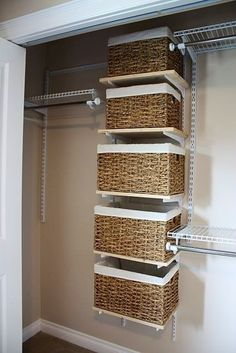 Instead of drawers, use baskets, ez to take out and put back in! Small closet smart !