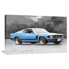 Naxart '1970 Ford Mustang Boss' Painting Print on Wrapped Canvas Size: