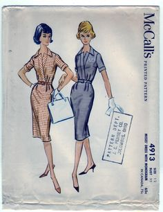 Vintage 1959 McCall's 4913 UNCUT Sewing Pattern Misses' Dress with Monogram Size 12 Bust 32